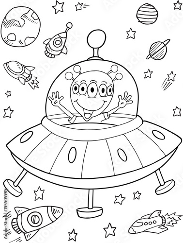 Foto op Canvas Cartoon draw Alien UFO Space Vector Illustration Art