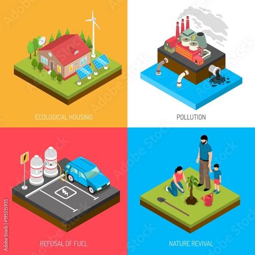 Sticker Ecology Isometric Design Concept