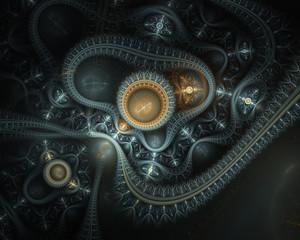 Steampunk. Time machine. Futuristic mechanic engine with gears. Clockwork watch, digital fractal art