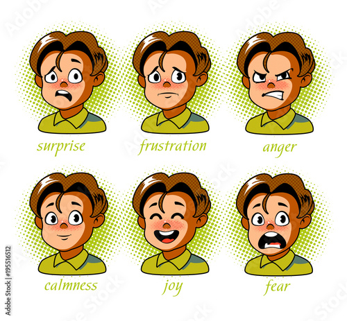 Plexiglas Pop Art Boy. Kid avatar Character expressions set. Boy in different emotions