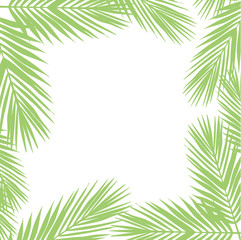 Palm leaves background. Flat style. green and white.