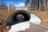 Empty underpass corridor in springtime