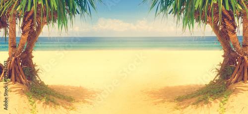 Foto op Canvas Tropical strand Paisaje idilico y pintoresco de playa y palmeras.Vacaciones y viajes por playas.