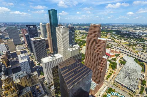 Fototapeta aerial of modern buildings in downtown Houston