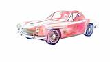 Vintage Sports Car Watercolor Texture