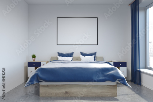 White wall bedroom interior, poster - 195532721