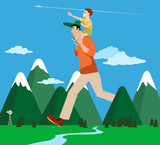 Giant father holding a kid on his shoulder and hiking through the mountains, EPS 8 vector illustration