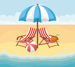 Beach with parasol and seats over beach background, colorful design vector illustration