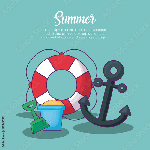 Infographic of summer concept with float and anchor over blue background, colorful design vector illustration