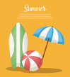 Infographic of summer concept with surfboard and beach parasol over orange background, colorful design vector illustration