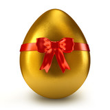 Single golden egg with red ribbon and bow - 3d render - 195552330