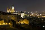 Winter night Prague City with gothic Castle, Czech Republic - 195557316