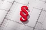 Red Paragraph Symbol On Blueprint - 195568990
