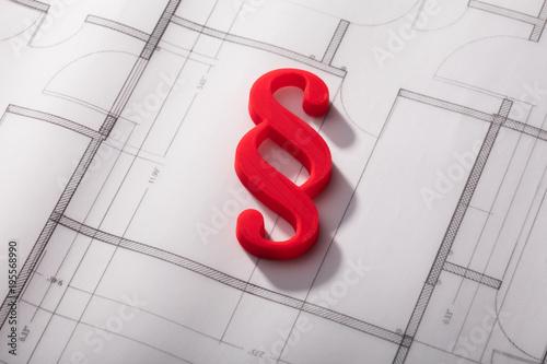 Red Paragraph Symbol On Blueprint