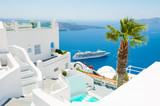 White architecture on Santorini island, Greece. - 195583735