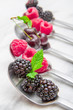 Fresh berries on steel spoons on white marble background
