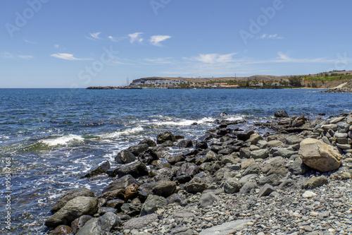 Poster Canarische Eilanden Awesome View to Marina of Meloneras Beach / Spain