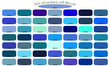 Palette art of blue color. Blue tones and shades. 50 shades of blue color isolated on white background. Color backgrounds with codes. Vector illustration.