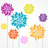 affiche fleurs colorés - 195595724