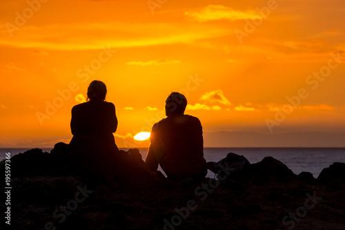 Staande foto Oranje eclat Sun Setting on the Ocean