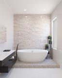 Modern bathroom with bathtub - 195601359