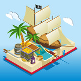 Pirate Elements Isometric Game Composition - 195601776