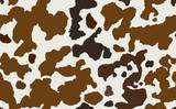 Cow skin in brown and white spotted, seamless pattern, animal texture. Raster copy illustration