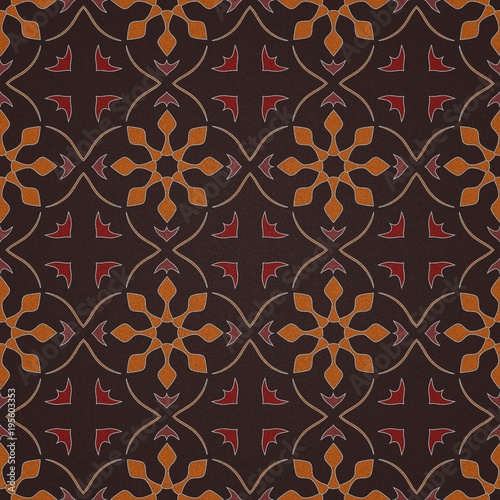 3D rendering seamless wallpaper - The orange arrows tapestry - 195603353