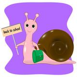 back to school snail cartoon  - 195611106