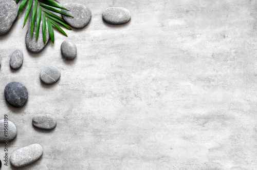 Foto op Canvas Spa Grey spa background, palm leaves and grey stones, top view