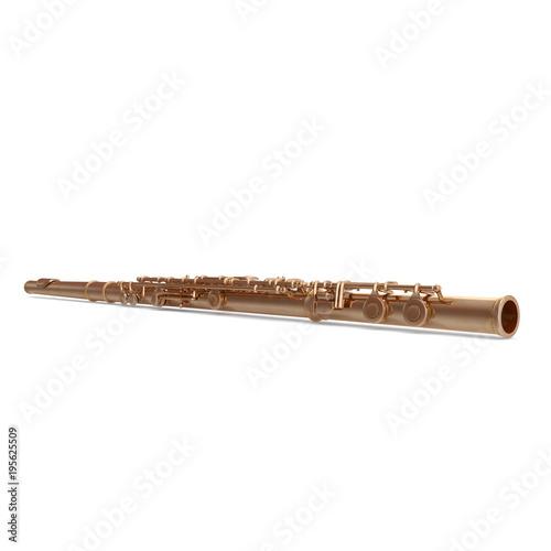 Fototapeta classical golden flute on white. 3D illustration