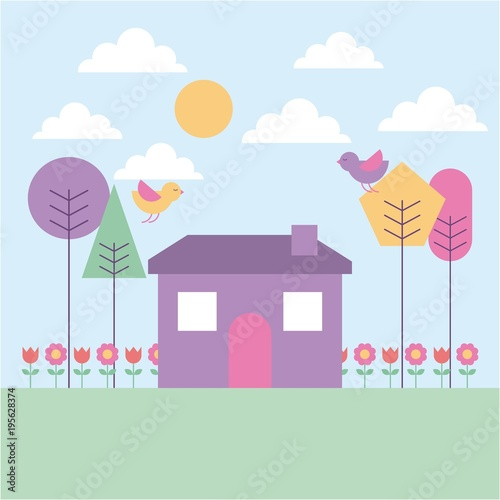Staande foto Lichtblauw landscape spring house tree birds flowers pastel color vector illustration