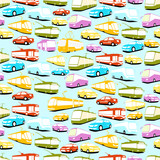 Vector background of multi-colored cars and public transport