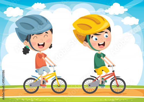 Vector Illustration Of Kids Cycling
