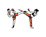 Women and Man do High Kick on the Kickboxing Extreme Sports Hand Drawing Sign Symbol Logo Vector - 195637704