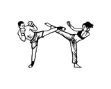 Women And Man Do High Kick On The Kickboxing Extreme Sports Hand Drawing Sign Symbol Logo  Wall Sticker
