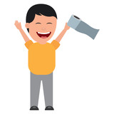 man smiling with toilet paper in his hand for a joke vector illustration - 195644153