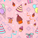 birthday party seamless pattern pink theme vector