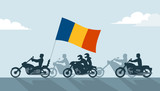 Bikers on motorcycles with romania flag