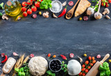Pizza Ingredients On Black Table In A Raw - Italian Food  - 195646564