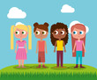 group girl teenager character standing in field vector illustration