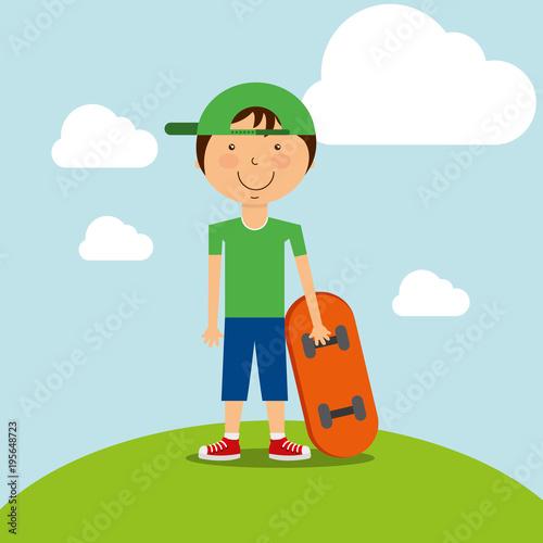 Fotobehang Skateboard funny little boy with skateboard in field vector illustration