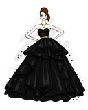 A tall, slender girl in a beautiful evening dress. Fashion & Style. Vector illustration. - 195649923