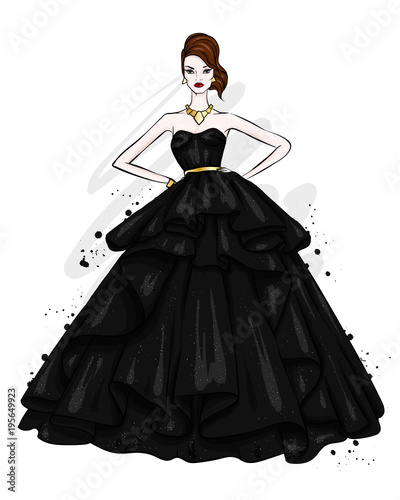 A tall, slender girl in a beautiful evening dress. Fashion & Style. Vector illustration.