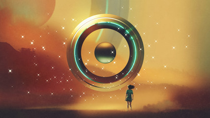 woman walking to the futuristic circle floating in the air, digital art style, illustration painting © grandfailure
