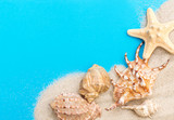 Sand with seashells on blue background. Top view. Copy space. - 195660551