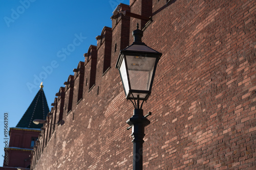 Fotobehang Moskou Red Moscow Kremlin wall