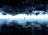 Paesaggio fantasy, fessura, oscurità, luce, sole, persone in controluce in un paesaggio fantascientifico, grande portale luminoso - 195664915