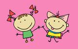 Hand drawn beautiful cute little girls best friends. T-shirt graphic. cartoon character. vector - 195665999
