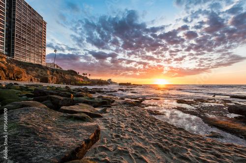 Aluminium Strand La Jolla's Seal Rock Beach at Sunset